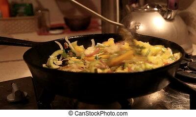 stir fried vegetables in the pan - stir fried vegetables in...
