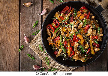 Stir fry chicken, peppers and beans - Stir fry chicken,...