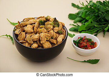 Stir fry chicken with broccoli