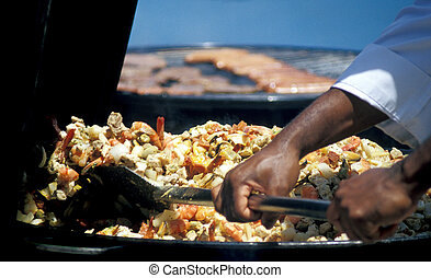 Stir fried seafood and vegetables.