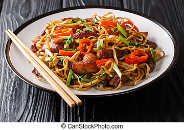 Stir fry from chow mein noodles with pork and vegetables close-up on a plate on the table. Horizontal