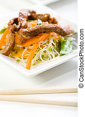 Stir Fry with beef, rice noodles, and sprouts