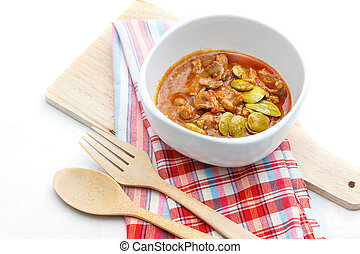 Stir fry pork with parkia beans and shrimp paste, Thai food ...