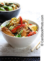 Stir Fry - Chicken or pork stir fry with vegetables and rice...