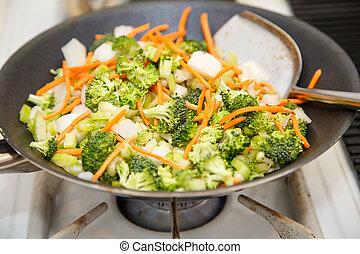 Stir-Fry Vegetables in a Hot Wok