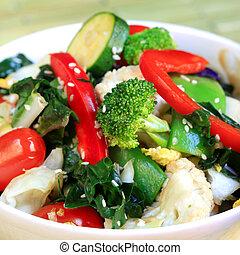 Stir Fry Vegetables - Stir fry vegetables topped with sesame...