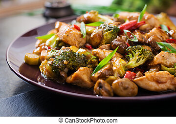 Stir fry with chicken, mushrooms, broccoli and peppers - Chinese food