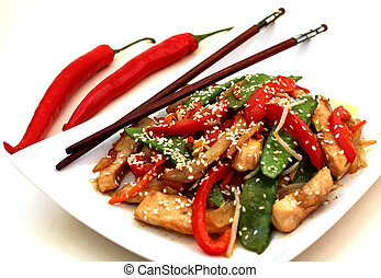 Stir-Fry with Chicken - Stir-Fry with chicken, peppers and...