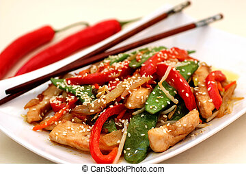 Stir-Fry with Chicken - Stir-Fry with chicken, peppers and ...