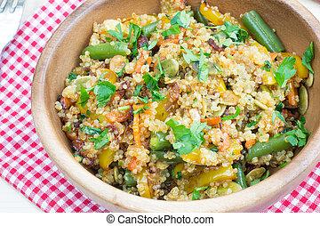 Healthy vegetarian stir-fry with quinoa