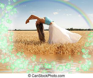 stiramento, donna, con, arcobaleno, acqua, e, fiori