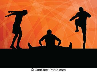 stiramento, su, vettore, esercizio, fondo, warming, uomo