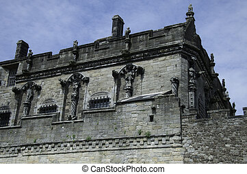 Stirling Castle, Scotland, showing the decorative outdoor...