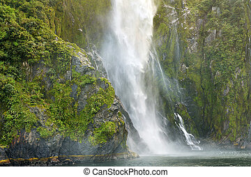 Stirling Falls Waterfall in the Milford Sound - Fiordland...