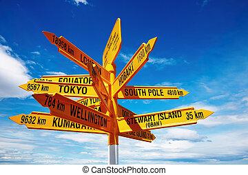 stirling, fanfarronada, zealand, punto, nuevo, poste indicador