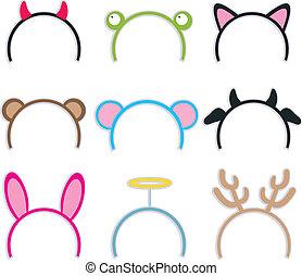 stirnbänder, kostüm, sammlung