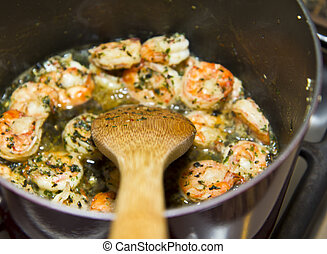 Stirring Spoon and Shrimp Cuisine