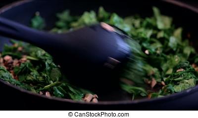 Stirring Veggies in Frying Pan - Saut?ing and staring...