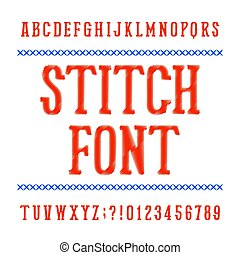 Stitch alphabet font. Embroidery vintage typeface on white background. Type letters and numbers.