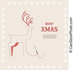 stitch embroidered Christmas deer on greeting card
