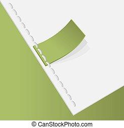 stitched., étiquette, vert