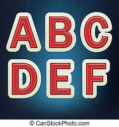 Stitched Fabric Font A-F