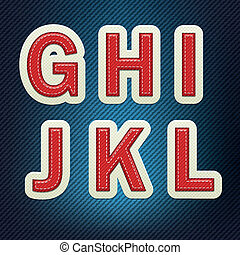 Stitched Fabric Font G-L
