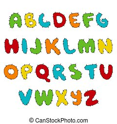 Stitched Hand written display colored font, Kid style. ABC. patched, sewed, Decorative funny Vector alphabet and numbers.