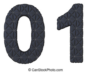 Stitched leather font 0 1 numerals
