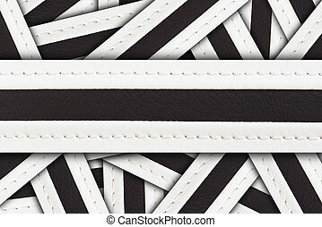stitched leather for background isolated on white .