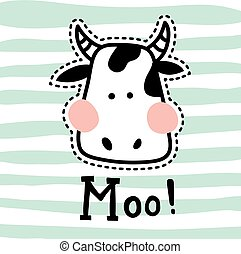 stitched moo - vector illustration, vute cow head on striped...