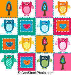 stitched owls - owls in stitched textile style