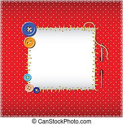 stitched, padrão, ponto polka, botões