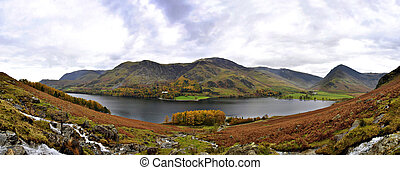 Stitched Panorama of Buttermere Lake in Autumn