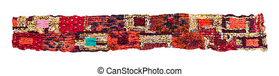 stitched red brown patchwork scarf isolated