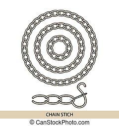 stitches., costura, bordado, cadena, costura, colección,...