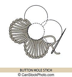 stitches., costura, bordado, hilo, botón, costura, colección...