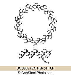 stitches., costura, bordado, hilo, doble, costura, colección...