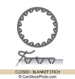 stitches., costura, bordado, hilo, manta, costura, -, ...