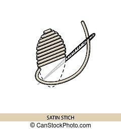 stitches., costura, puntada, hilo, tipo, costura, colección...