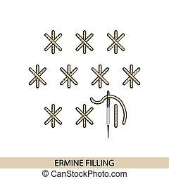 stitches., costura, vector., hilo, costura, armiño, ...