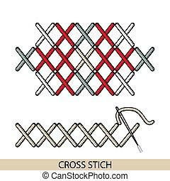 stitches., costura, vector., hilo, costura, cruz, colección...