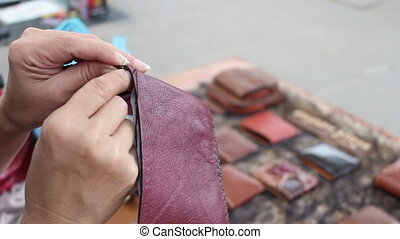 Stitching leather wallet