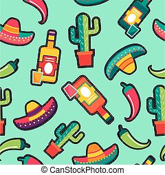 Stitching patches mexico icons seamless pattern
