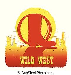 stivale cowboy, illustrazione, americano, vettore, deserto, texas, laccio