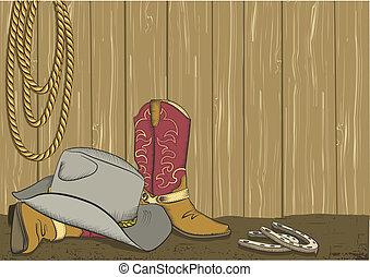 stivali cowboy, e, hat.vector, sfondo colore, per, disegno