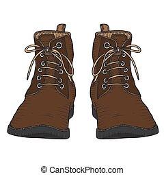 stivali, scarpe, vettore, illustrazione