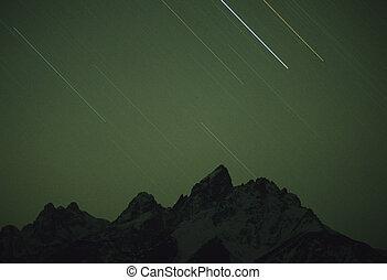 stjärna, återstående tid spåret, över, den, tetons