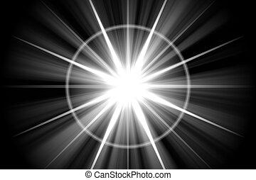 stjärna, abstrakt, sunburst, sol