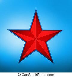 stjärna, blue., eps, illustration, 8, röd